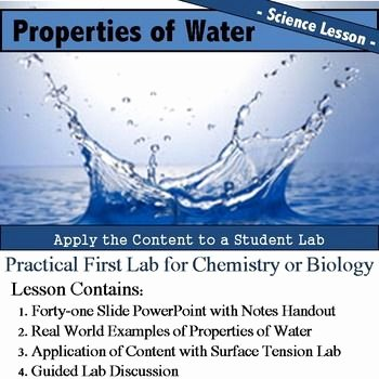 Properties Of Water Worksheet Biology Elegant Properties Of Water Lesson and Lab