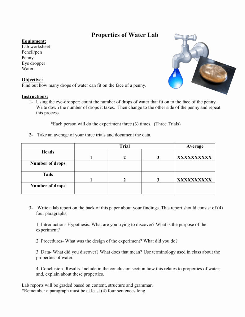 Properties Of Water Worksheet Biology Fresh Properties Of Water Lab