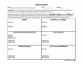 Properties Of Water Worksheet Lovely Properties Of Water Parison Worksheet to Include