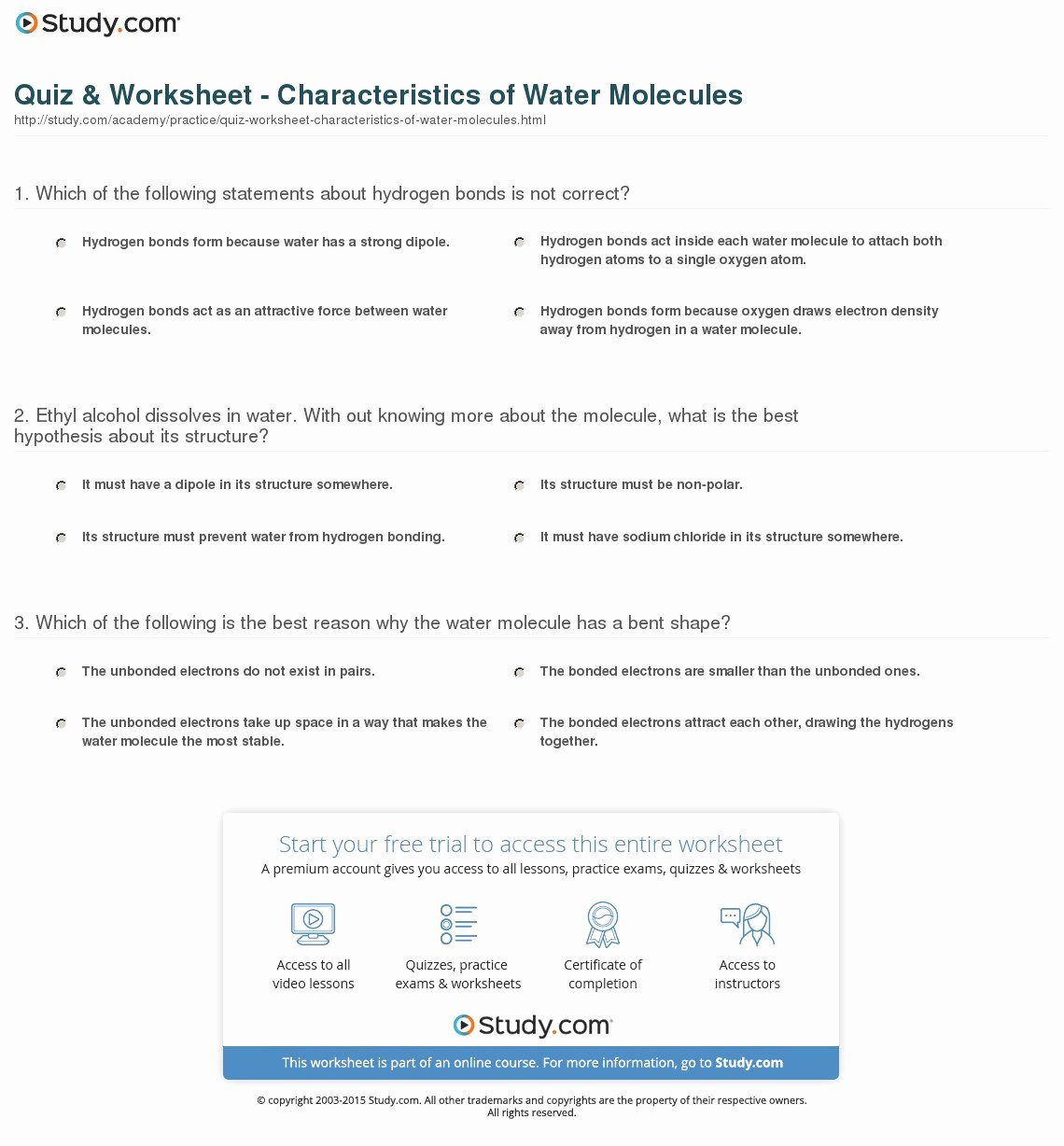 Properties Of Water Worksheet Lovely Quiz & Worksheet Characteristics Of Water Molecules