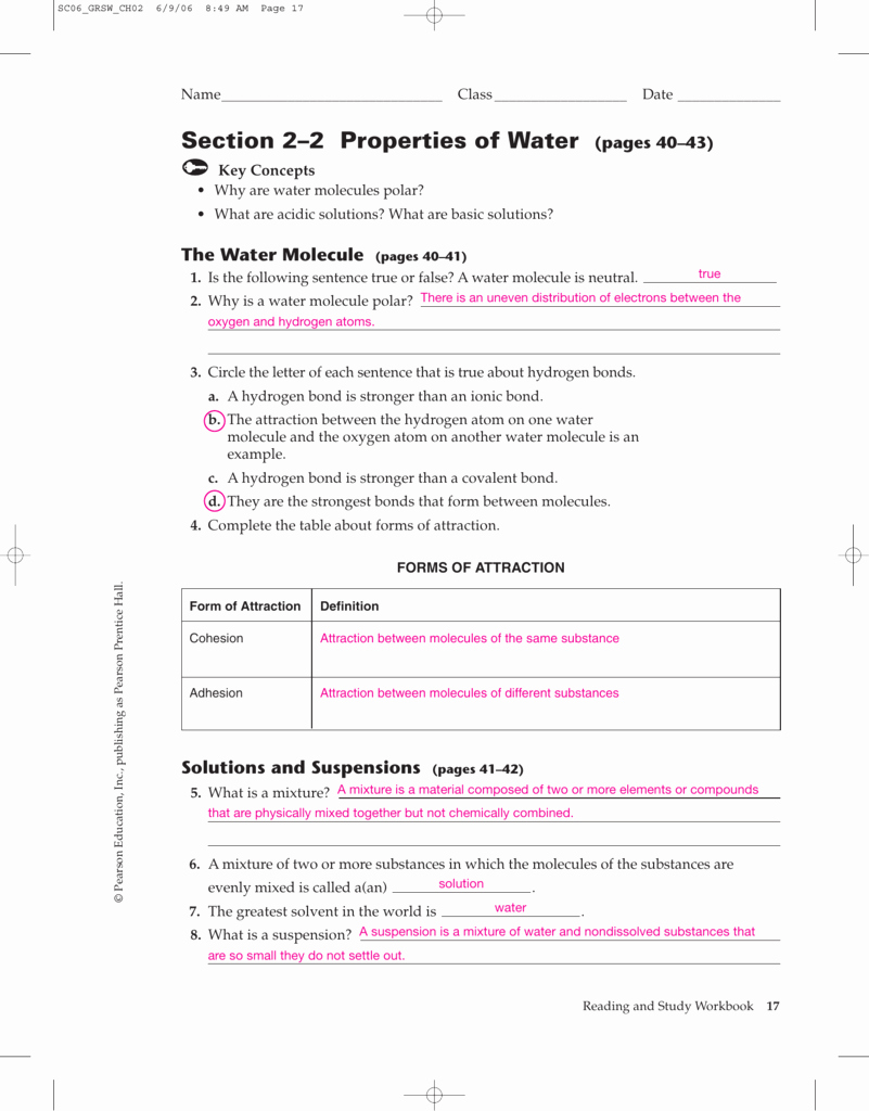 Properties Of Water Worksheet Unique Properties Water Worksheet Answers