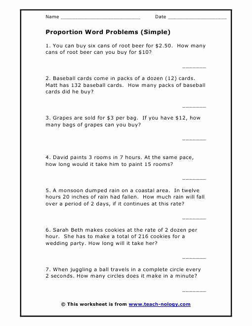Proportion Word Problems Worksheet New Proportion Word Problems Worksheet