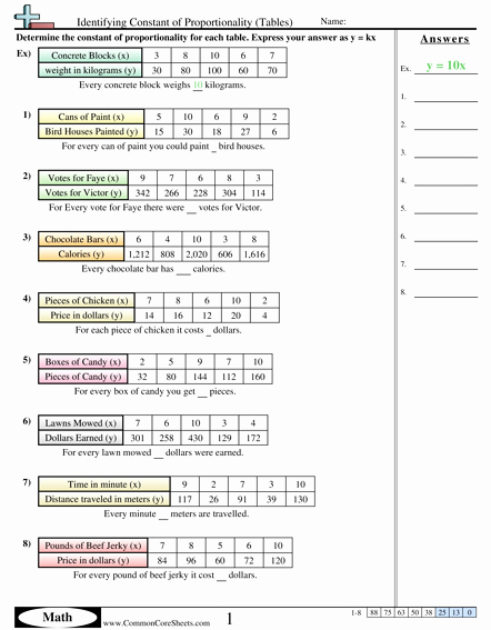 Proportional and Nonproportional Relationships Worksheet Best Of Constant Of Proportionality School