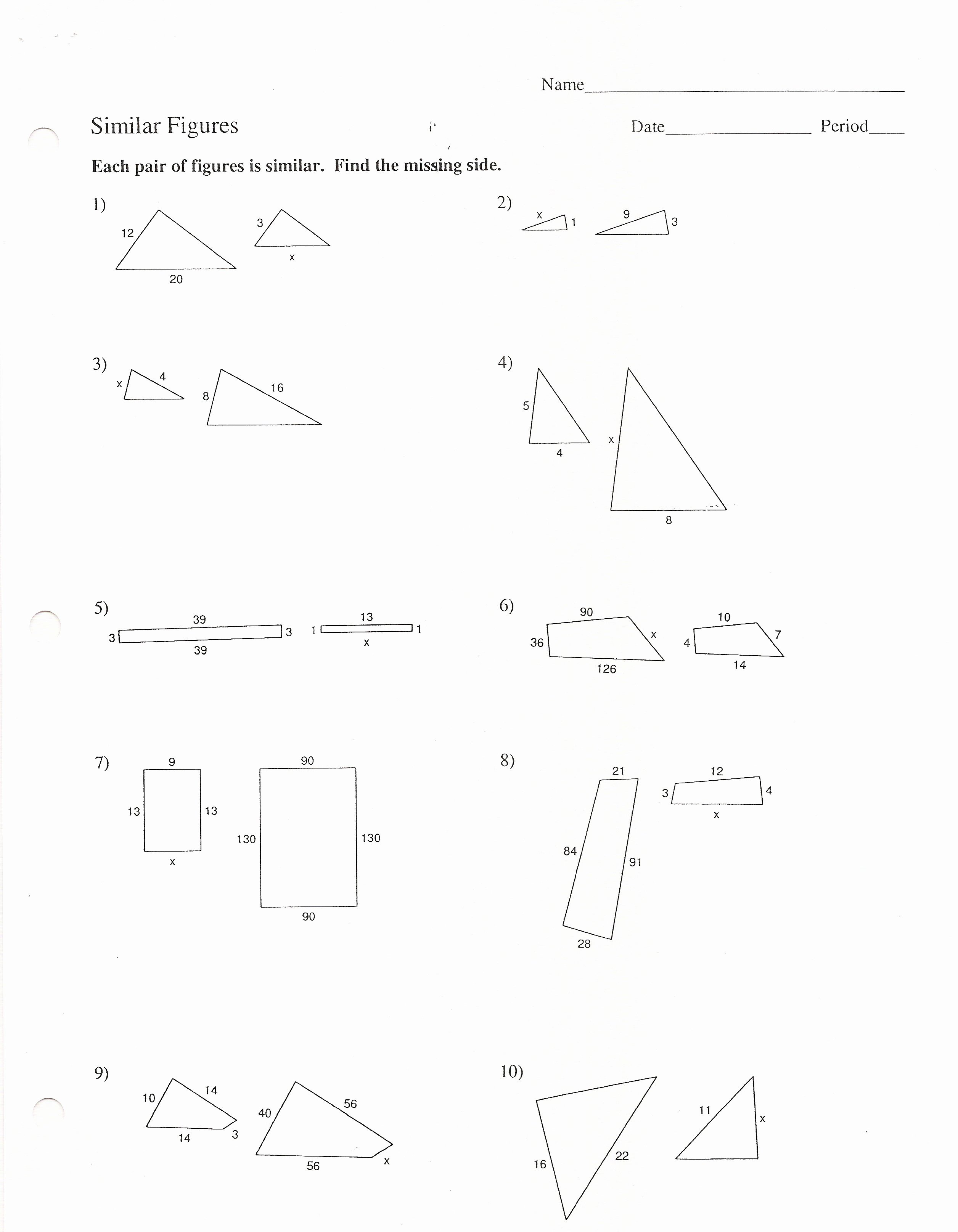Proportions and Similar Figures Worksheet Best Of assignments 8th Grade Honors Third Quarter