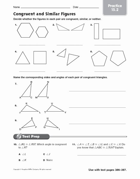 Proportions and Similar Figures Worksheet Best Of Congruence & Similarity