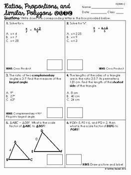 Proportions and Similar Figures Worksheet Fresh Ratios Proportions and Similar Polygons Quiz by Mrs