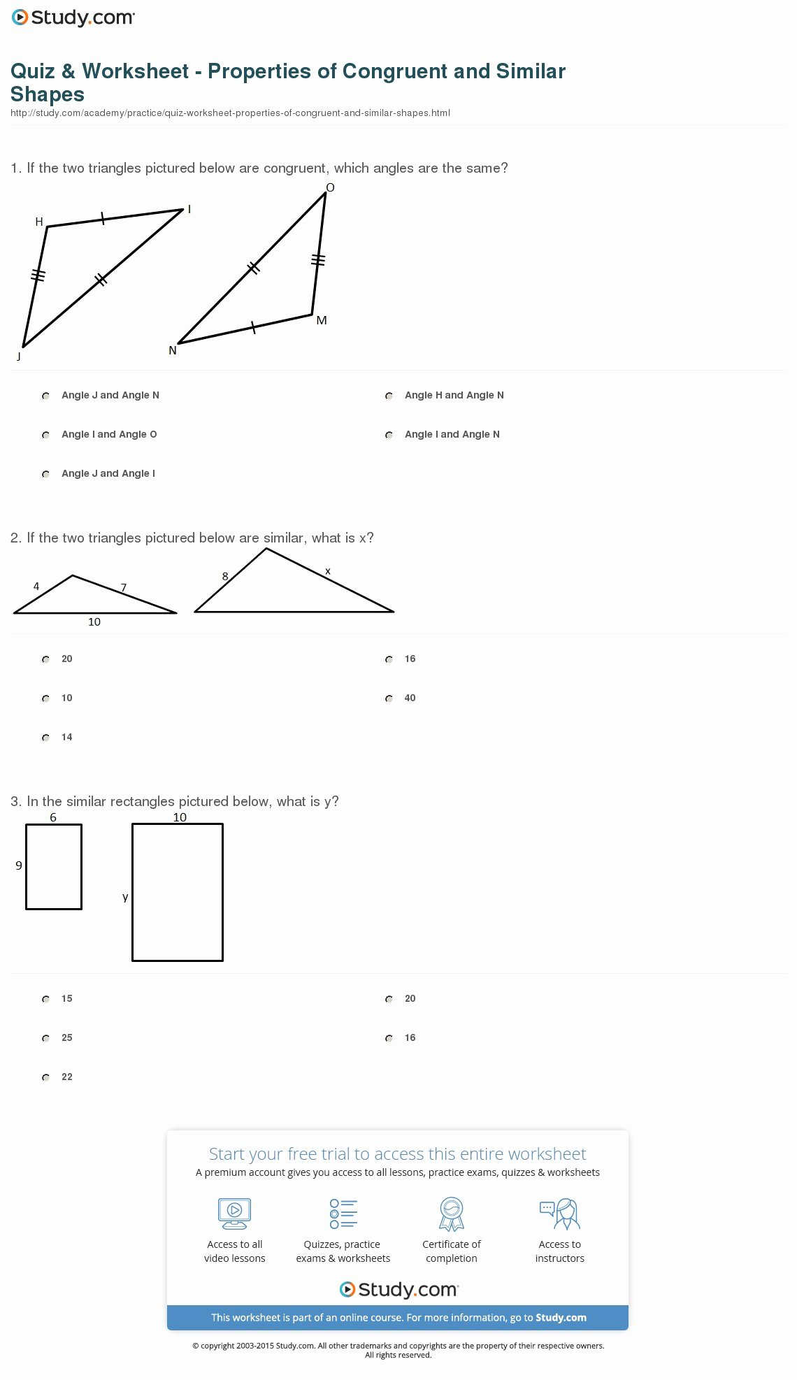Proportions and Similar Figures Worksheet Unique Quiz & Worksheet Properties Of Congruent and Similar