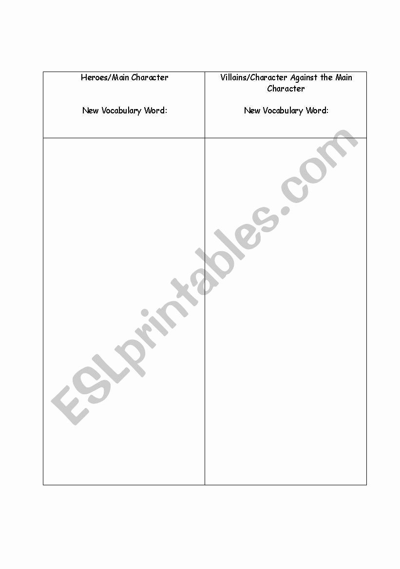 Protagonist and Antagonist Worksheet Awesome English Worksheets Protagonist and Antagonist Chart