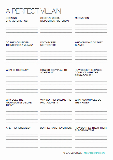 Protagonist and Antagonist Worksheet Inspirational Villains Writing Worksheet Wednesday