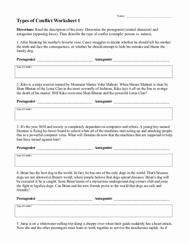Protagonist and Antagonist Worksheet Lovely Types Of Conflict Worksheet 1