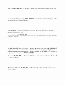 Protagonist and Antagonist Worksheet New Protagonist Antagonist Worksheets to Be Used with Any