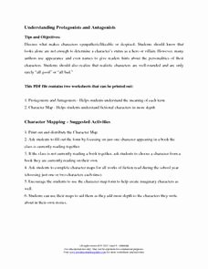 Protagonist and Antagonist Worksheet New Understanding Protagonists and Antagonists 6th 12th