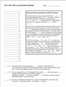 Protein Synthesis Review Worksheet Beautiful Dna Rna Protein Synthesis Unit Test for Grades 8 12 by
