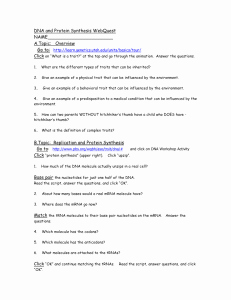 Protein Synthesis Review Worksheet Best Of Protein Synthesis Review Worksheet Transcription Dna to Mrna