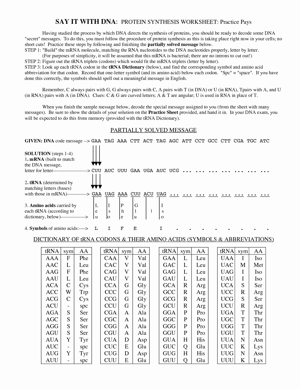Protein Synthesis Worksheet Answer Key Lovely 13 Best Of Decoding Dna Worksheet 3rd Grade Word