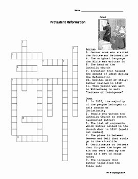 Protestant Reformation Worksheet Answers Beautiful Protestant Reformation Crossword Puzzle with Key by My