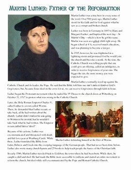 Protestant Reformation Worksheet Answers Elegant Martin Luther Reading and Mon Core Worksheet by
