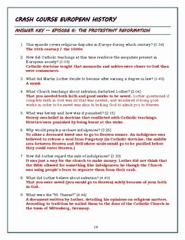 Protestant Reformation Worksheet Answers Fresh Crash Course European History Episode 6 Worksheet