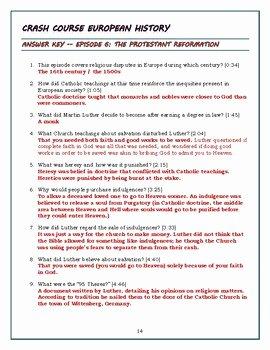 Protestant Reformation Worksheet Answers Fresh Crash Course European History Episode 6 Worksheet