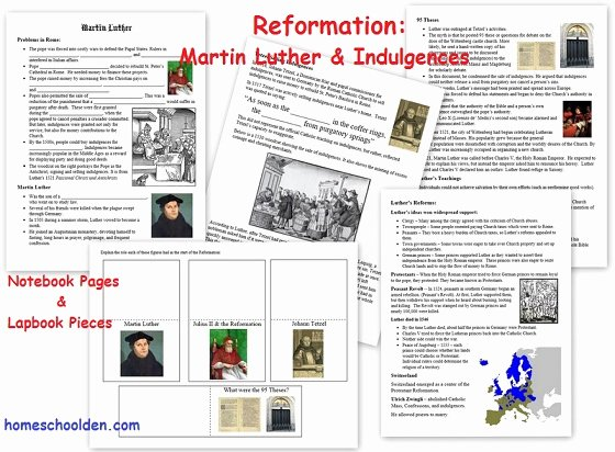 Protestant Reformation Worksheet Answers Fresh Reformation Martin Luther Notebook Page and Lapbook