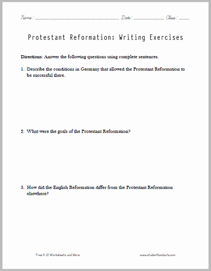 Protestant Reformation Worksheet Answers Inspirational Protestant Reformation Essay Questions