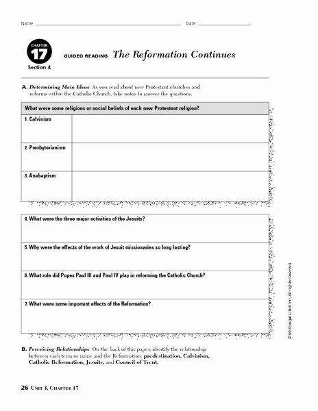 Protestant Reformation Worksheet Answers Luxury the Reformation Continues Worksheet for 6th 8th Grade