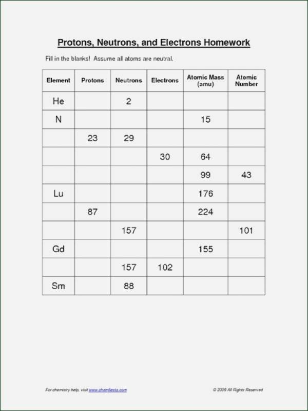 Protons Neutrons and Electrons Worksheet New Protons Neutrons and Electrons Practice Worksheet