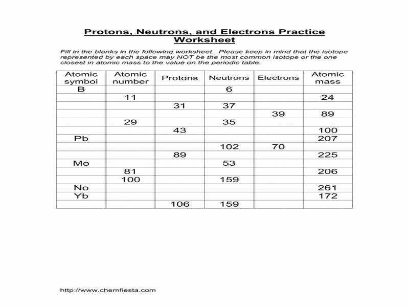 Protons Neutrons and Electrons Worksheet Unique Protons Neutrons and Electrons Practice Worksheet Answers