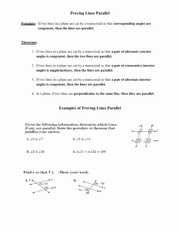 Proving Lines Parallel Worksheet Best Of Proving Lines Parallel Worksheet C