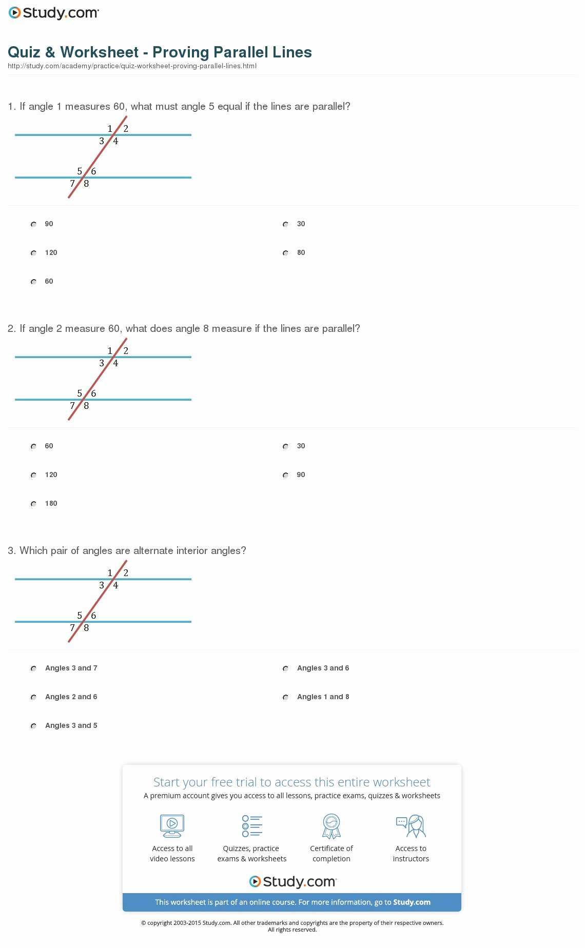 Proving Lines Parallel Worksheet Unique Quiz & Worksheet Proving Parallel Lines