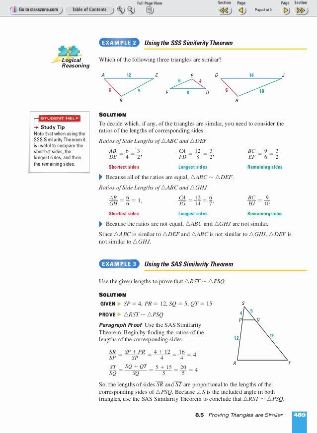 Proving Triangles Similar Worksheet Best Of theorems for Similar Triangles Worksheet Answers