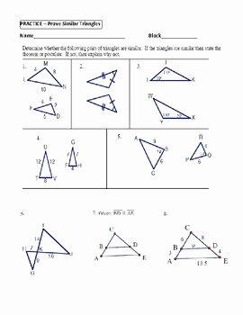 Proving Triangles Similar Worksheet Elegant Geometry Unit 9 Prove Similar Triangles by Aa Sas Sss