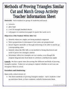 Proving Triangles Similar Worksheet Luxury Proving Triangles Similar Cut Match & Paste Group