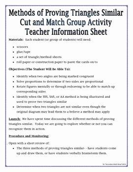 Proving Triangles Similar Worksheet Luxury Proving Triangles Similar Cut Match & Paste Group