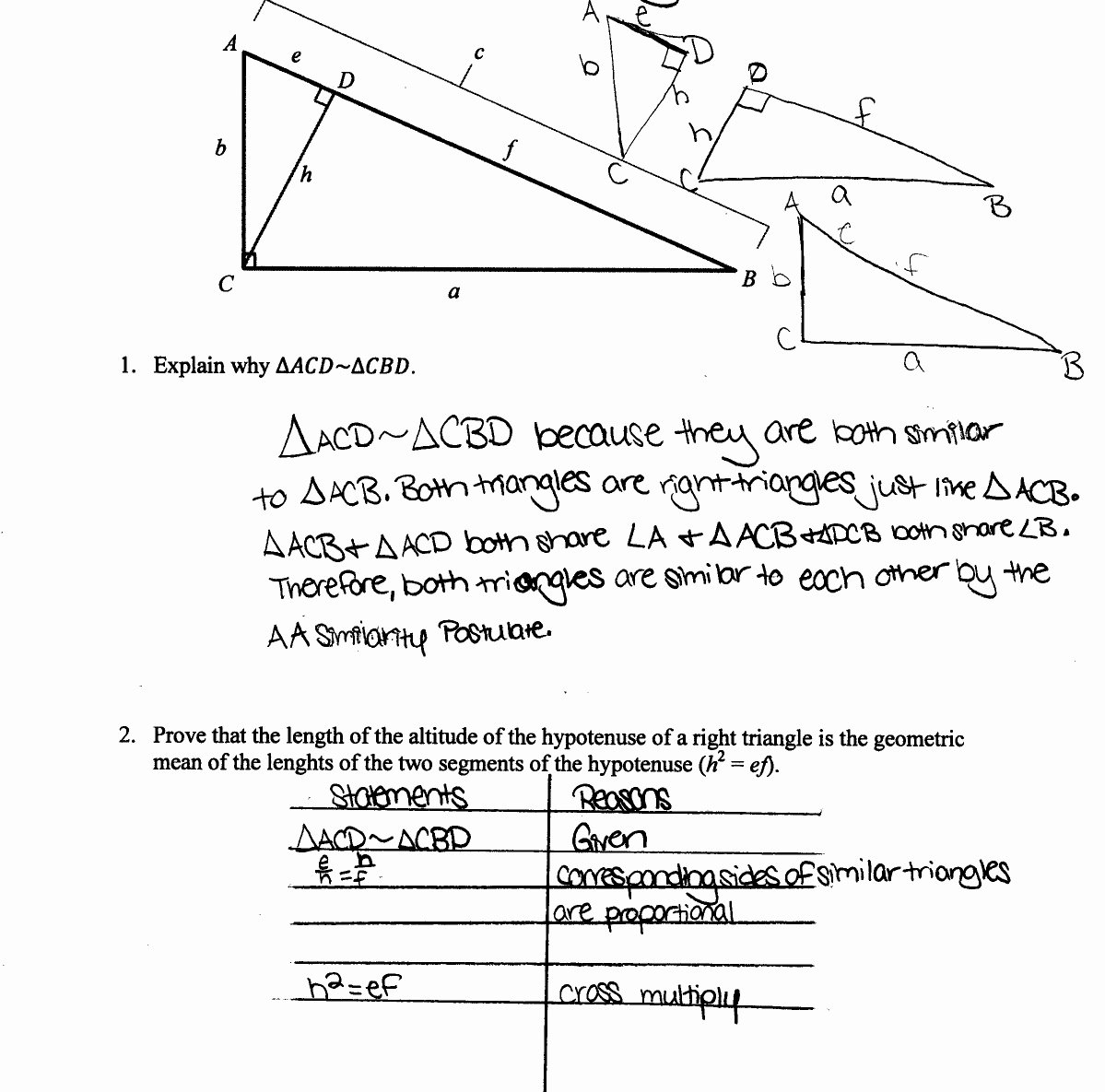 Proving Triangles Similar Worksheet New Geometric Mean Worksheet Write A Proportion for Each