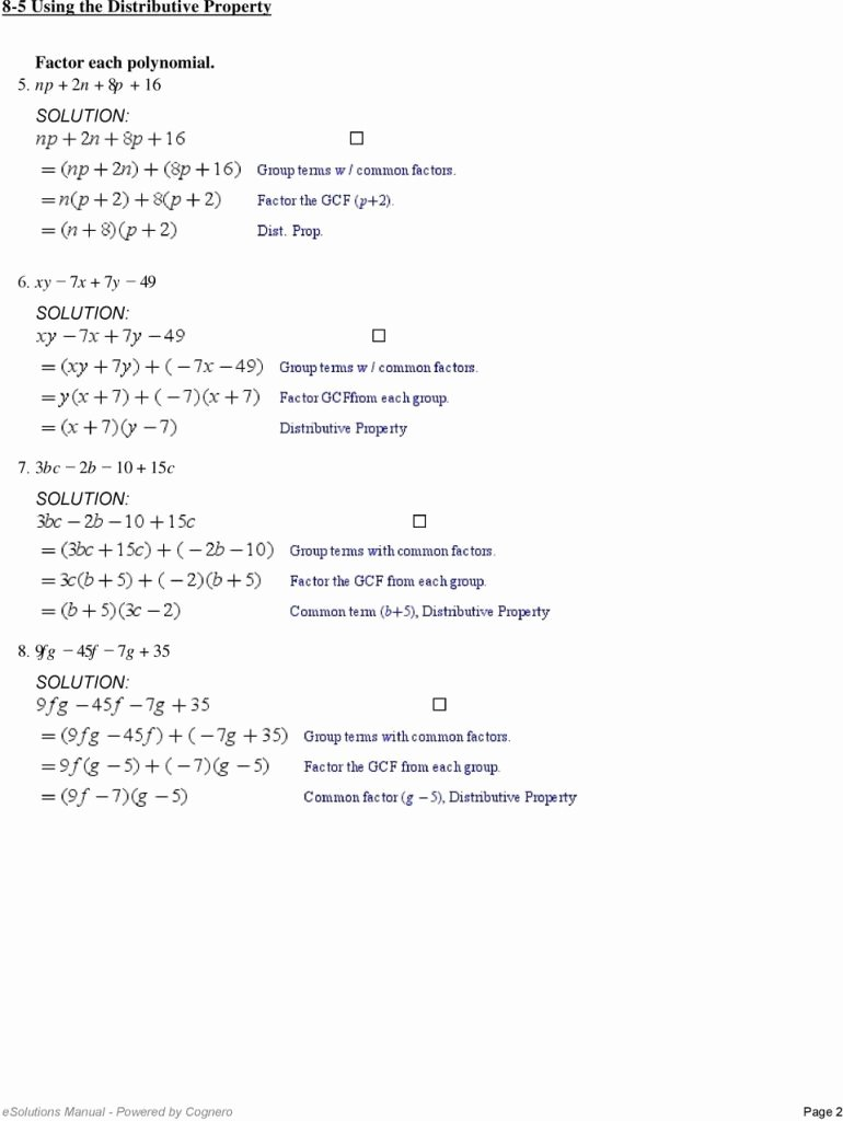 Prufrock Analysis Worksheet Answers Beautiful Factoring Using the Distributive Property Worksheet 10 2