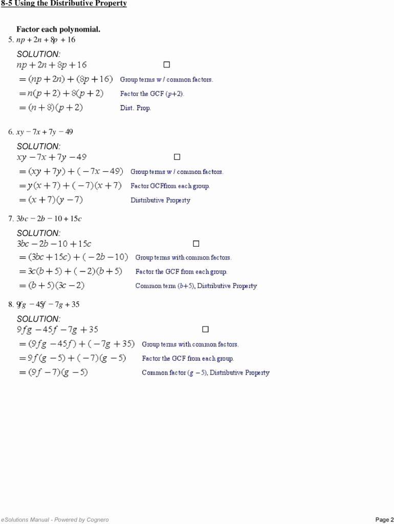 Prufrock Analysis Worksheet Answers Beautiful Factoring Using the Distributive Property Worksheet 10 2