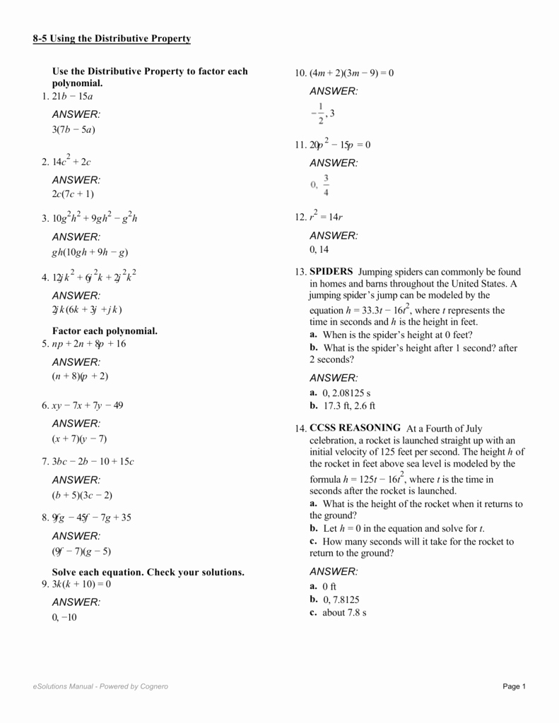 Prufrock Analysis Worksheet Answers Unique Factoring Using the Distributive Property Worksheet 10 2