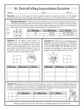 Punnett Square Practice Worksheet Unique St Patrick S Day Monohybrid Crosses Punnett Square