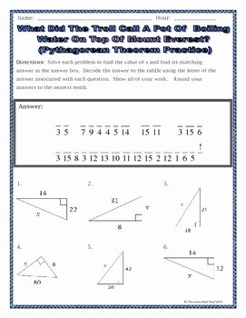 Pythagoras theorem Worksheet Pdf Elegant Right Triangles Geometry Pythagorean theorem Riddle