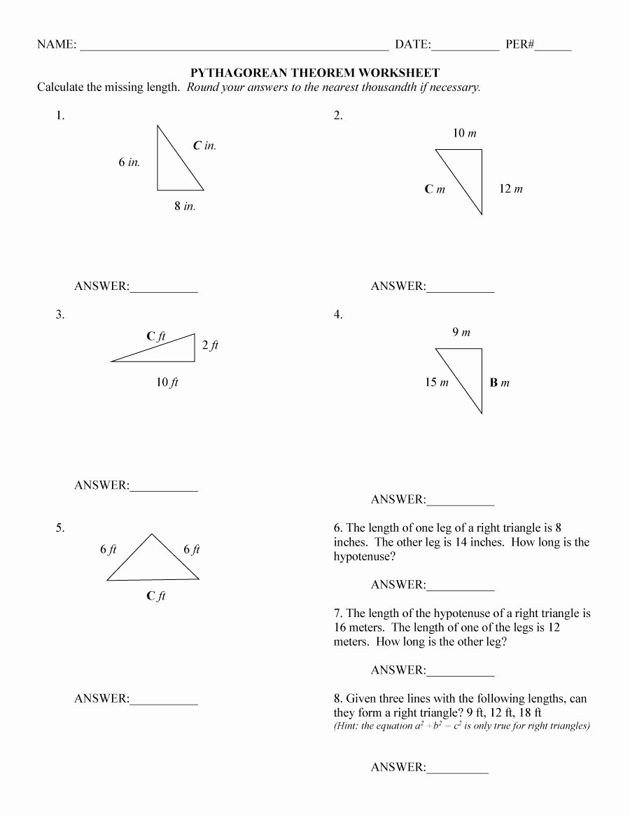 Pythagoras theorem Worksheet with Answers Beautiful Pythagorean theorem Word Problems Worksheet Answer Key