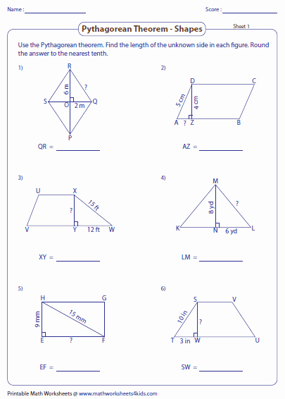 Pythagoras theorem Worksheet with Answers Inspirational Pythagorean theorem Worksheets