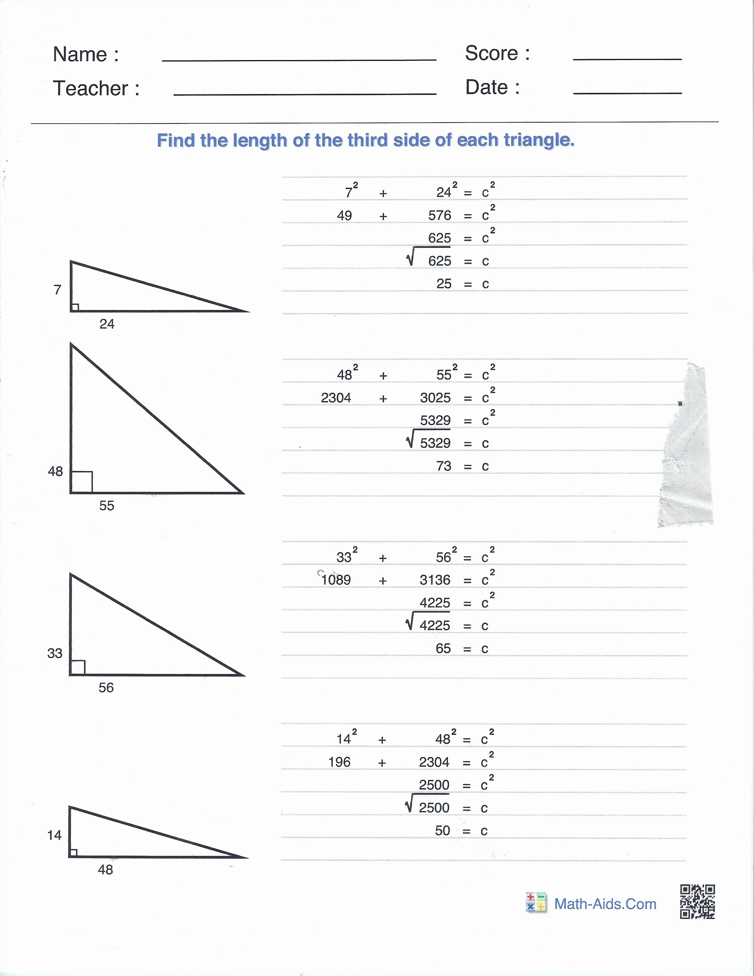 Pythagoras theorem Worksheet with Answers Lovely Right Angles and the Pythagorean theorem