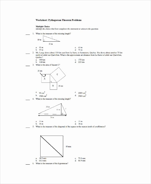 Pythagoras theorem Worksheet with Answers New Sample Pythagorean theorem Worksheet 9 Free Documents