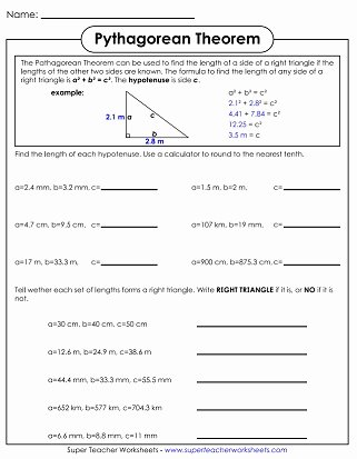 Pythagorean theorem Practice Worksheet Awesome Pythagorean theorem Worksheets