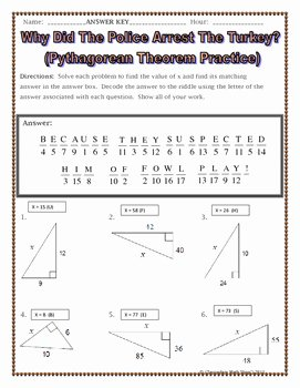 Pythagorean theorem Practice Worksheet Best Of Right Triangles Pythagorean theorem Thanksgiving Riddle