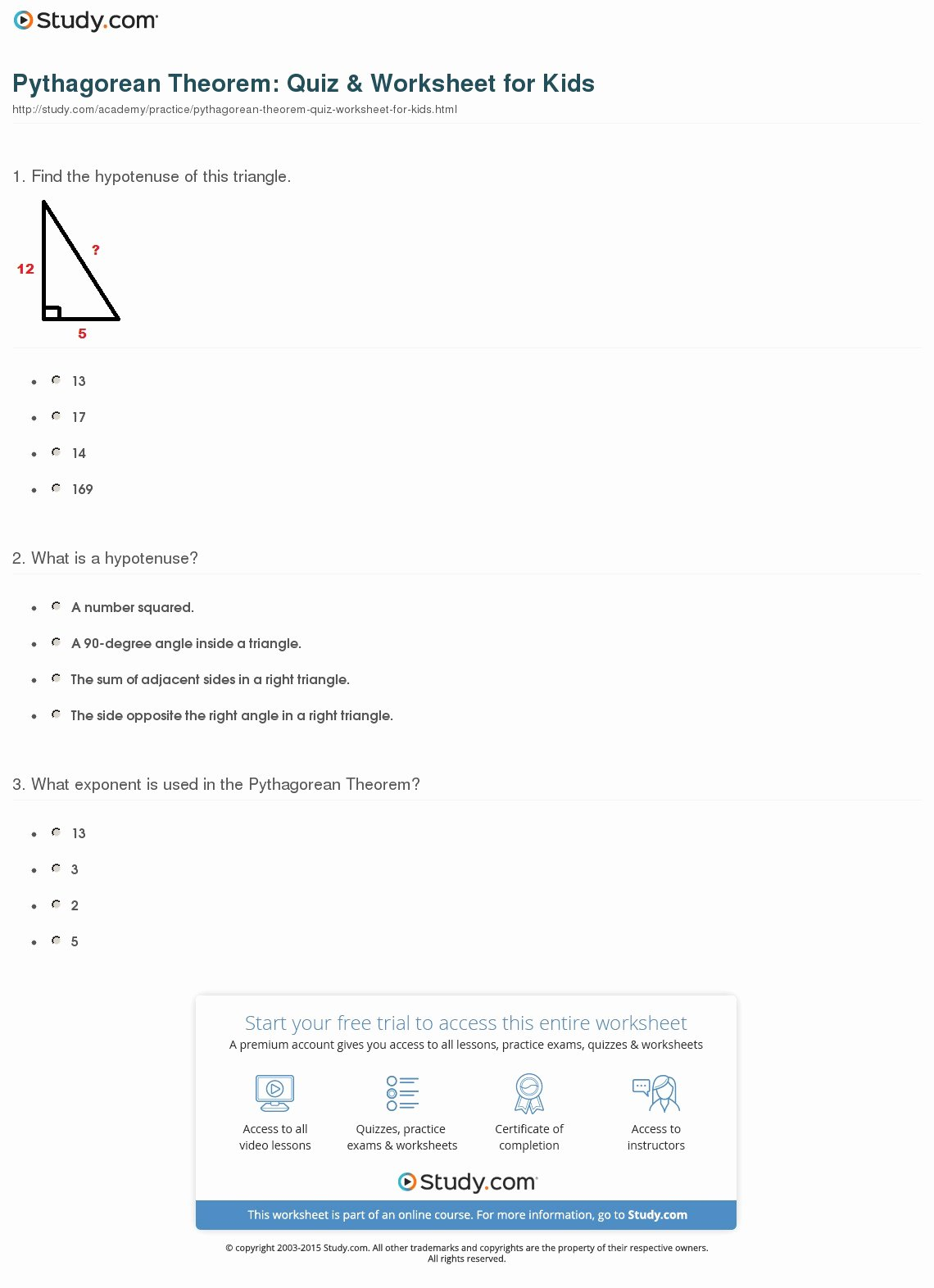 Pythagorean theorem Practice Worksheet Fresh Pythagorean theorem Quiz & Worksheet for Kids