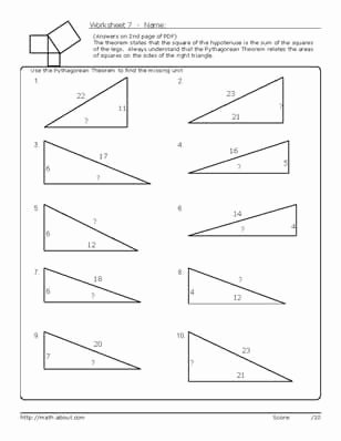 Pythagorean theorem Practice Worksheet Inspirational Pythagorean S theorem Worksheets
