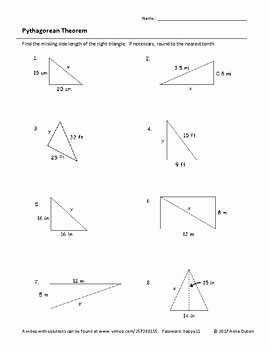 Pythagorean theorem Practice Worksheet Inspirational Pythagorean theorem Worksheet with Video Answers by