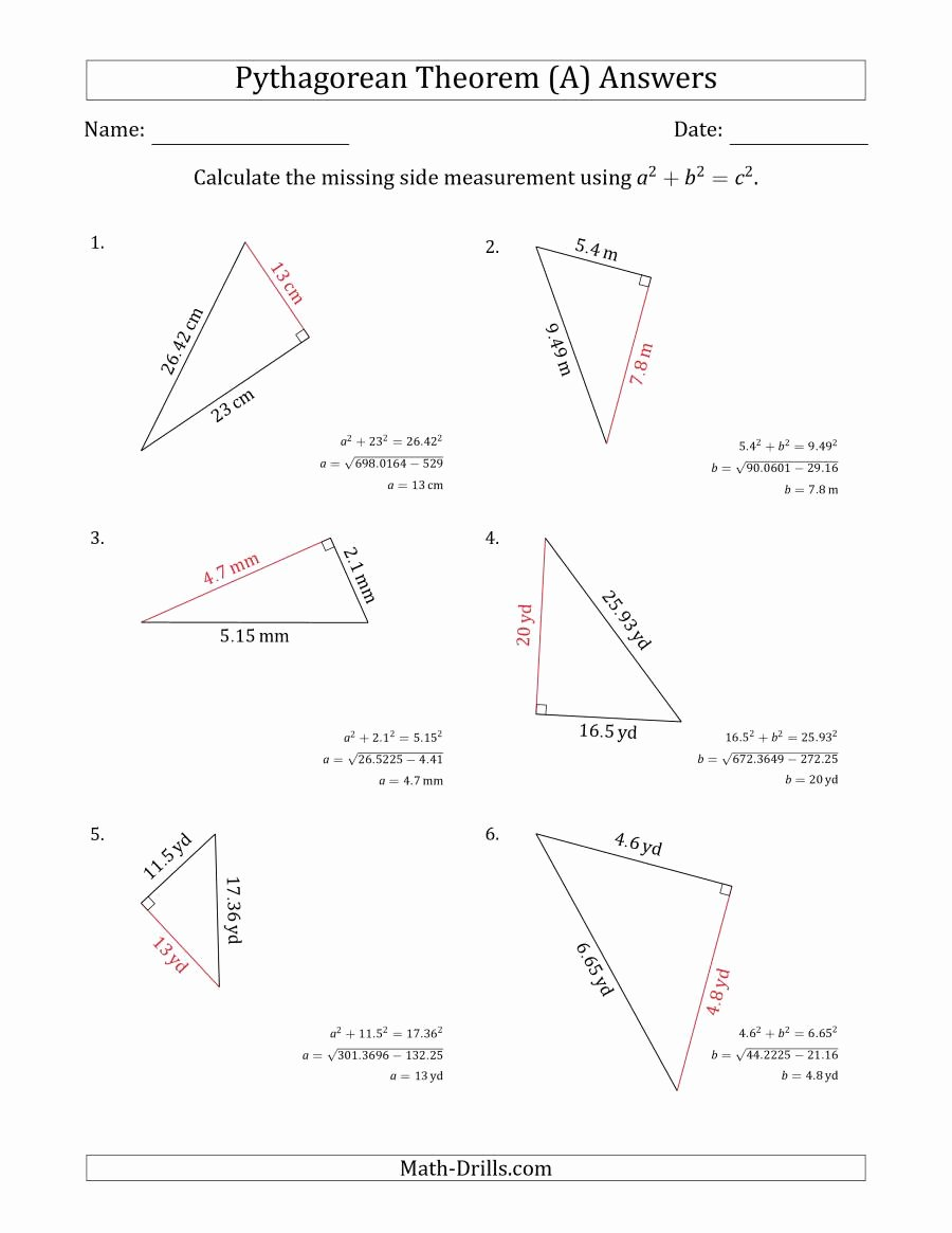 Pythagorean theorem Practice Worksheet Lovely Calculate A Cathetus Using Pythagorean theorem A
